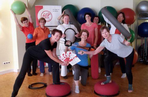 """Die Teilnehmerinnen des Pilates-Kurses von Kordula Geitel freuen sich schon: """"Wir sind auch im Herbst wieder dabei!"""""""